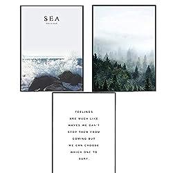 Trayosin 3er Set Design-Poster schwarz-weißOhne Rahmen- Deko für Wohnzimmer, Sofa, Veranda, Gang (50x70cm)