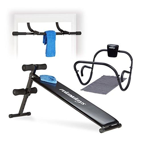3 tlg. Trainings Set, Sit Up Bank, Bauchtrainer, Push Up Bar, Bauchmuskeltrainer, Klimmzugstange, AB Roller, Türreck -