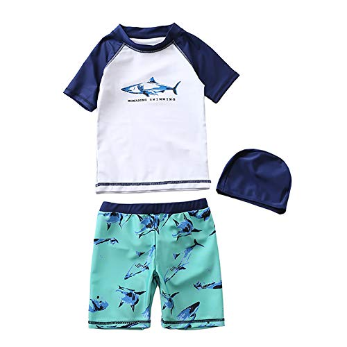 Jungen Schwimmen Badeanzug (MissChild Baby Kinder Jungen Badeanzug Bade-Set, UV Schutz Badebekleidung Sunsuit Surfen Taucheranzug Schwimmen Anzug Oberteile + Kurze Hose)