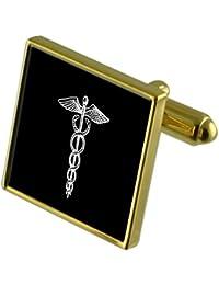 Caduceo médico tono Oro gemelos en la bolsa