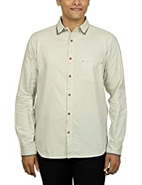 Kuons Avenue Men's Slim Fit Light Beige Self Weave Cotton Silk Traditional Casual Party Shirt