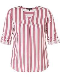 f577cc87f777a0 Yesta Damen Bluse Tunika Shirt Kurzarm Altrosa Weiß gestreift große Größen  aus Viskose