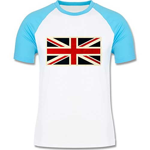 Länder - Flagge Großbritannien - zweifarbiges Baseballshirt für Männer Weiß/Türkis