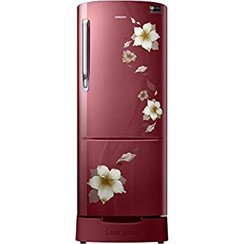 Samsung 215 L 3 Star Direct Cool Single Door Refrigerator(RR22N383ZR2/HL, Star Flower Red, Base Stand with Drawer, Inverter Compressor)