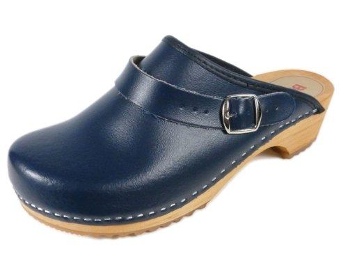 Buxa Unisex Holz und Leder Clogs / Pantoletten, Fersenriemen, Denim Blau, 42 EU (Leder Clogs Denim)