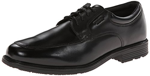 Rockport Mens Waterproof Lead The Pack Apron-Toe Oxford- Black Waterproof Leather