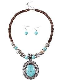 d283f5d2ff93 Z Collar Azul Colgante Cadena De Cuentas De Madera De Color Turquesa Grueso  Collar