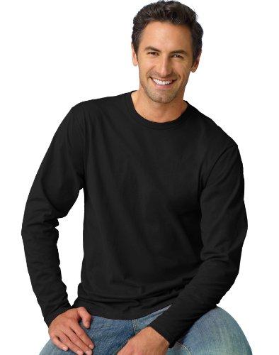 Tagless Nano-T Herren Langarm Tee_Black_M (Hanes Langarm-t-shirts Für Männer)