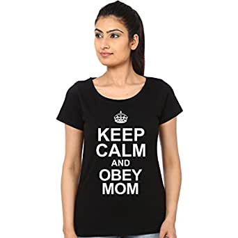 Mopixie Keep Calm And Obey Mom Printed Tshirt (Size:2XL)