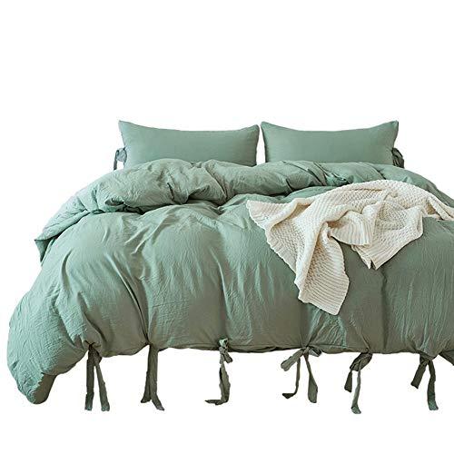 Luofanfei Bettwäsche Doppelbett 200x200 Sommer Grün für Paare 1 Bettbezug und 2 Kissenbezüge 80 x 80cm Falten Knittern Design