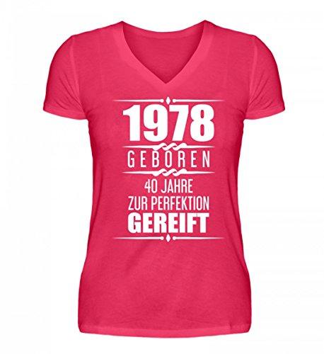 Shirtee Hochwertiges V-Neck Damenshirt - Lustige Geschenkidee 40. Geburtstag 40. Jubiläum Geschenk 1978 Geburtstagsgeschenk Zum 40.