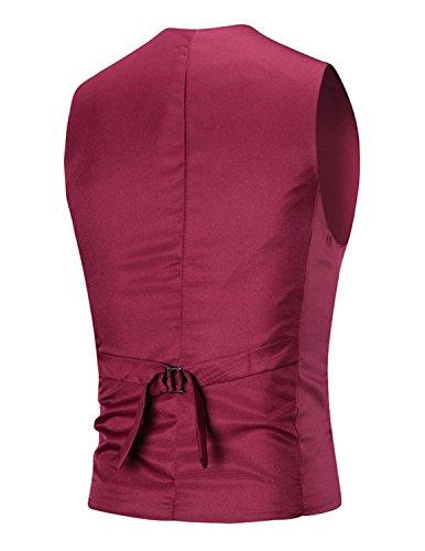 Boom Fashion Herren 3 Knopf Anzugweste Freizeit Business Casual Slim Fit Weste Einfarbig Mit V-Ausschnitt Rot
