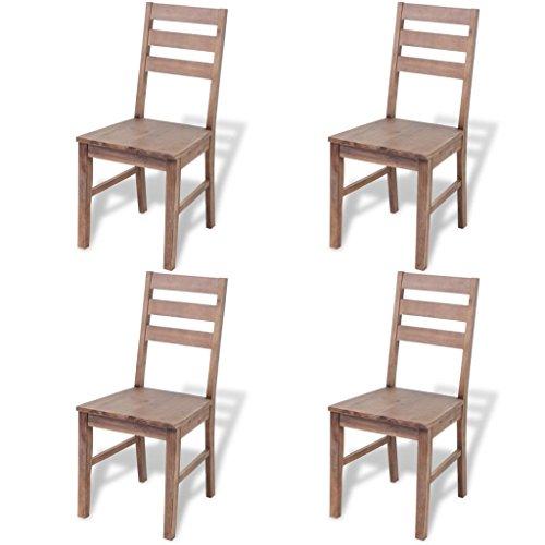 vidaXL 4x Chaise de Salle à Manger Bois d'Acacia Chaise à Manger Cuisine