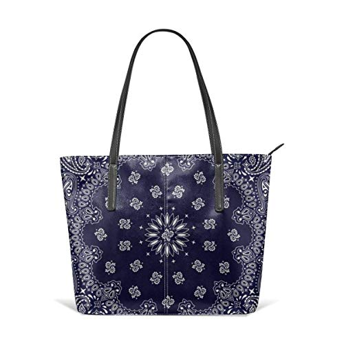 xcvgcxcbaoabo Mode Handtaschen Einkaufstasche Top Griff Umhängetaschen Bandana navy blue southwestern Leather Tote Large Purse Shoulder Bag Portable Storage HandBags Convenient Shoppers Tote -
