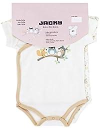 """Jacky Baby Wickelbody kurzarm 2er-Pack """"Waldtiere"""" weiss/apricot 152667"""
