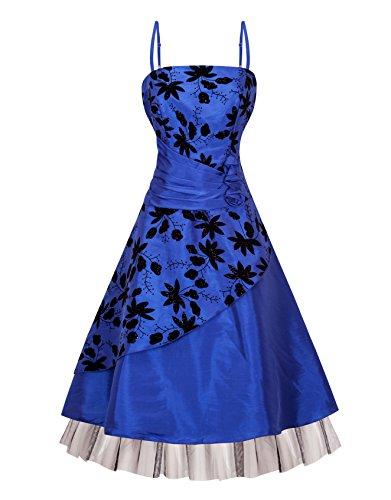 Zarlena Damen Cocktailkleid Chiffonkleid Satin Abendkleid Brautjungfernkleid Abi Ballkleid Blau