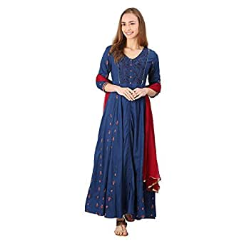 STOP by Shoppers Stop Womens V Neck Embroidered Kurta And Dupatta Set
