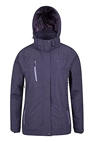 Mountain Warehouse Bracken Melange Womens 3 in 1 Jacket - Breathable, Waterproof, Taped Seams, Double Storm Flap & Detachable Hood with Multiple Pockets Grey
