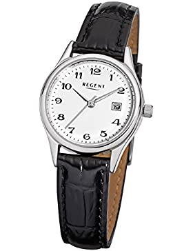 Regent Damen-Armbanduhr Elegant Analog Leder-Armband schwarz Quarz-Uhr Ziffernblatt weiß URF833