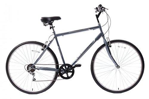 Professional Premium Mens 700c Hybrid Commuter City Bike 21 Frame 6 Speed Grey