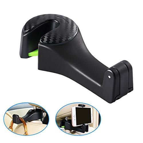Auto Kopfstütze Haken -- NONZERS Rücksitz Haken Auto Telefon Halterung Haken für Handtasche, Geldbeutel, Kleidung, Gepäck, Lebensmittelbeutel, Einkaufstasche Schwarz (Gelee-geldbeutel-handtasche)