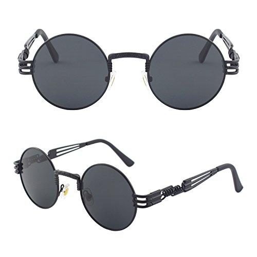 CGID Retro Sonnenbrille im Steampunk Stil, runder Metallrahmen, polarisiert, für Männer E73