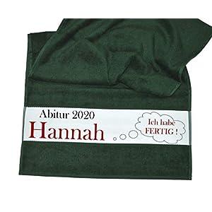 bedruckte Frottiere Handtücher oder Bade/Duschtücher – Abigeschenke – Motiv 5″Abi 2020″ mit Wunschnamen in 14 Farben zur Auswahl und 2 Größen