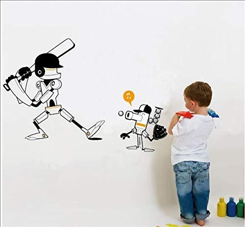 QTHBW Wandaufkleber Wandsticker Wandtattoos Wandbilder Cartoon Roboter Spielen Zimmer Dekor Junge Zimmer Baseball Wandaufklebern Kinder Dekoration (Zimmer Dekor Baseball)