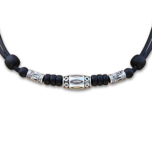 HANA LIMA ® Halskette mit Edelstahlperlen Lederkette Surferkette Herrenkette