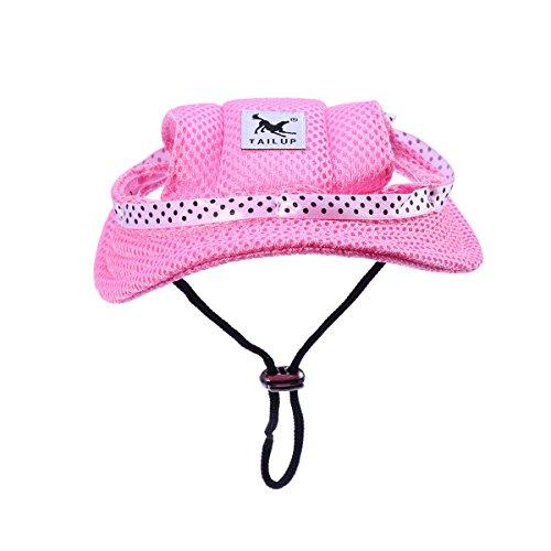 t Sonnenhut Sonnenschutz Hut mit Ohrlöchern für Outdoor Sport Haustier Hund Katze Kostüme (Größe S Rosa) ()