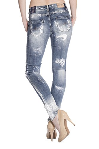 Blue Monkey Damen Skinny Vintage Jeans Manie-1451 Blau