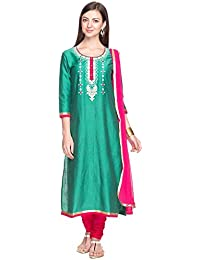 Kashish By Shopper Stop Womens Round Neck Solid Embroidered Churidar Suit