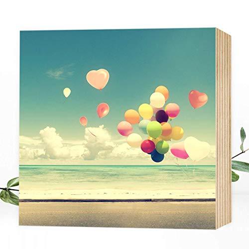 Lebensfreude - wunderbares Holzbild 15x15x2cm zum Hinstellen/Aufhängen, echter Foto-Druck auf Holz - Wand-Bild Aufsteller zur Dekoration oder Geschenk -