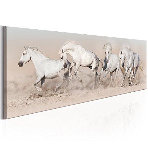 decomonkey Bilder Pferd 120x40 cm 1 Teilig Leinwandbilder Bild auf Leinwand Vlies Wandbild Kunstdruck Wanddeko Wand Wohnzimmer Wanddekoration Deko Tier Sand weiß