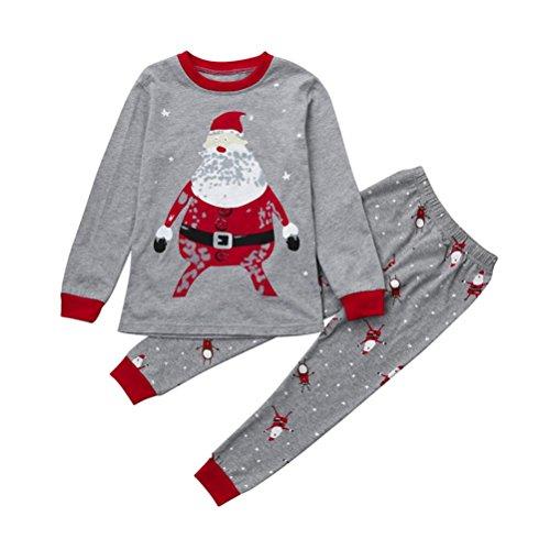 OverDose Weihnachten Neugeborenen Jungen Mädchen Bluse Tops + Pants Hosen Weihnachten Startseite Outfits Pyjamas Set(5T,A-Grau) (Mädchen Christmas Neugeborenes Pyjamas)