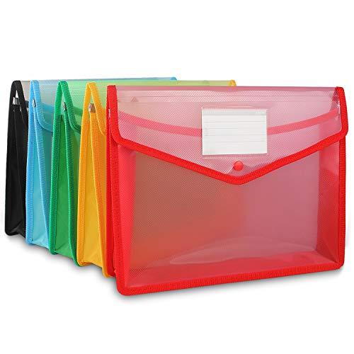 Starvast Dokumentenmappe mit Tasche, A4, 5 Stück, A4, mit Knopfverschluss, wasserdichte Dokumentenmappen, verschiedene Farben Blau, Grün, Schwarz, Rot, Gelb