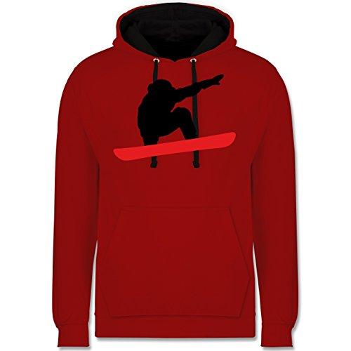 Wintersport - Snowboard Abfahrt Planke - Kontrast Hoodie Rot/Schwarz