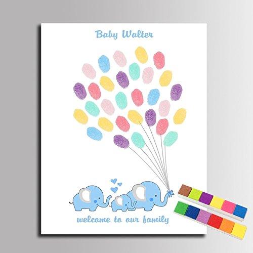 Fingerabdruck Signature Leinwand Gemälde Elefant Familie mit Luftballons Gästebuch Baby Dusche Dekorationen (inklusive 12Tinte Farben) 14x20inch...