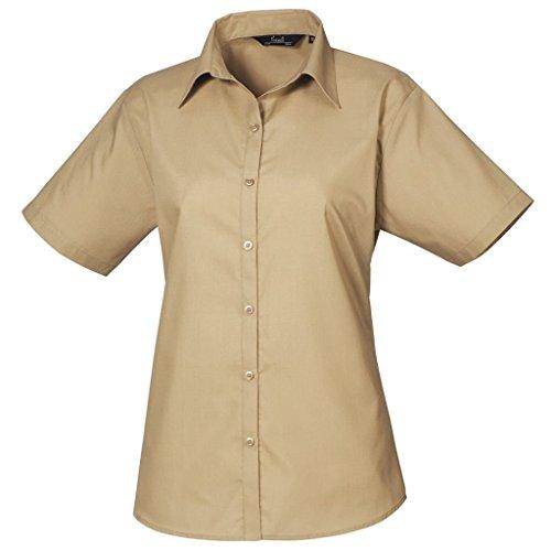 Femmes Chemisier en popeline à manches courtes chemise pour femme Coloris uni Marron - Kaki