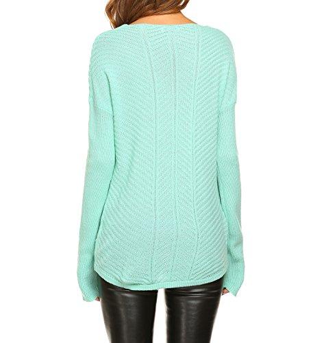 Zeagoo Damen Strickpullover Strickpulli Herbst Langarm V Ausschnitt Sweater Pullover in 4 Farben Hellgrün