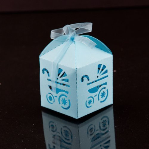 (Ifavor123 Baby Carriage Favor Candy Box Party Baby Shower Party Decorations 24 Pcs (Blue) by Ifavor123)