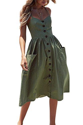 Walant Robes pour Femmes mi-Longue à Bretelles Ete Tie Front Col V Manches Courtes Bouton A-Line Sexy Robe Plage d'été Casual Chic Vintage Floraux, Vert, XXL