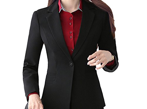 SK Studio Damen Business Slim Fit Blazer Reverskragen Karriere Schwarz 40 Tag 3XL - Damen Business-kleidung
