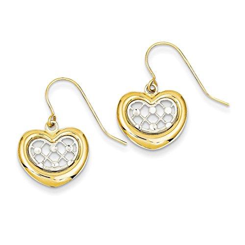 IceCarats Designer Schmuck 14K Two-Tone Diamond Cut Herz baumeln - Diamond Ohrringe Baumeln