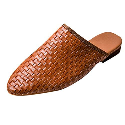 Damen Flache Pantoletten Geschlossene Spitze Zehen Slip On Loafer Slides Backless Schuhe Leichte Freizeitschuhe Rom Sandalen UK Größe 4-9.5