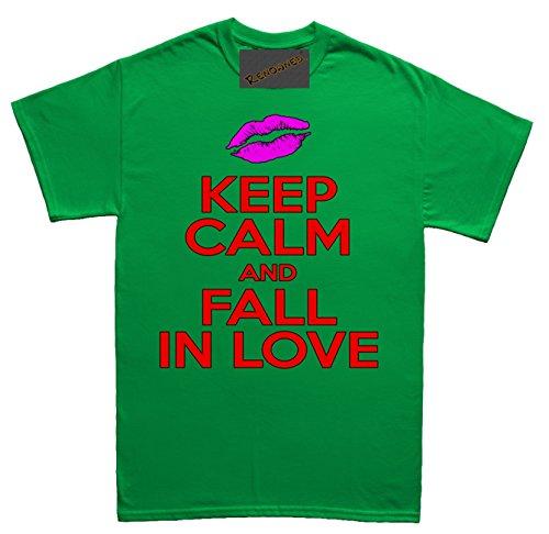 Renowned Keep calm and fall in love Damen T Shirt Grün