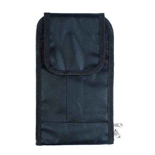 Preisvergleich Produktbild Travel Wallet - Reisemappe, Reisebörse, Ticket-Tasche für Reisedokumente, - ideal für Urlaubsreisen- schwarz + Gute Reise - Kofferanhänger