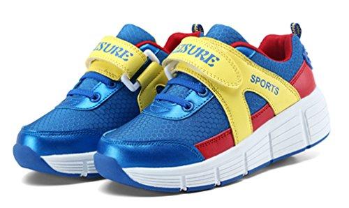 NEWZCERS Unisexe jeune patins à roulettes chaussures sport course chaussures unique roue Lac bleu (simple roue)