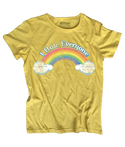 T-shirt Donna I hate Everyone – Inspired by Care Bears - 3stylercollection vintage Giallo Vintage