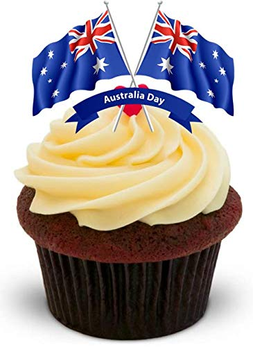 IEN TAG FAHNE DUO - 12 essbare hochwertige stehende Kuchen Toppers - HAPPY AUSTRALIA DAY FLAGS DUO ()